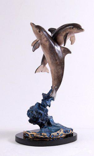 Escultura De Bronce Wyland Base De Mármol Delfines Dolphins