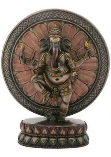 Escultura De Dios Ganesha En Lotus De 23cm Acabado En Bronce