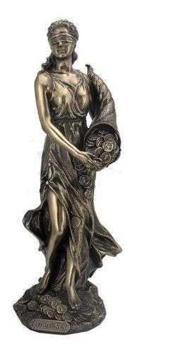 Escultura De Diosa De La Fortuna Acabado En Bronce De 32cm