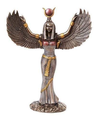 Escultura De Diosa Egipcia Isis En Acabado Bronce De 30cm
