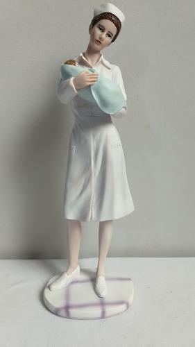 Escultura De Enfermera En Resina 22 Cm De Alto