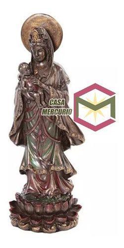 Escultura De Kuan Yin Con Bebe Acabado En Bronce De 26.5cms