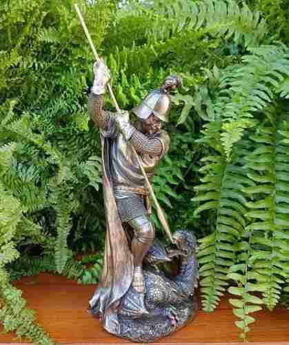 Escultura De San Jorge Y El Dragon De 32cm Acabado En Bronce