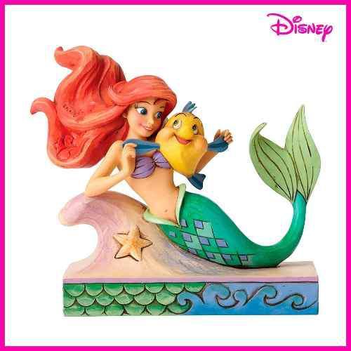 Escultura Decorativa La Sirenita Ariel Con Flounder Disney