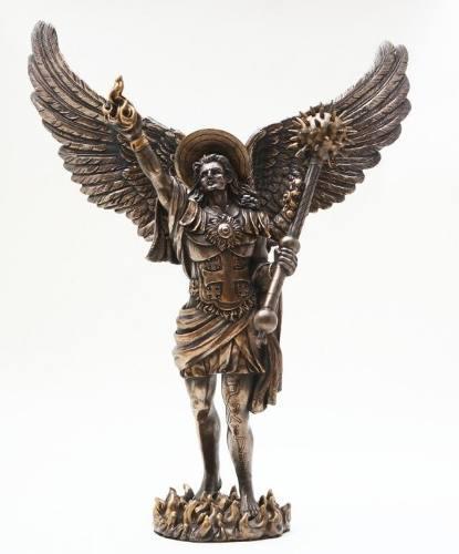 Escultura Del Arcangel Uriel Acabado En Bronce De 30cm