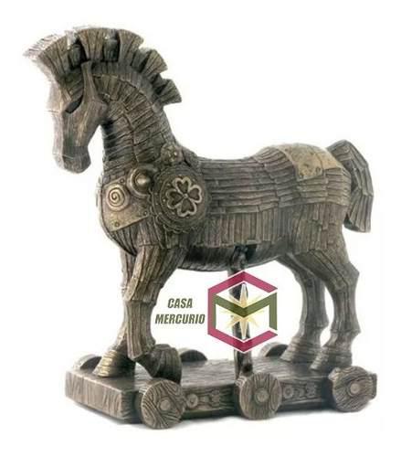 Escultura Del Caballo De Troya Acabado En Bronce De 27cm