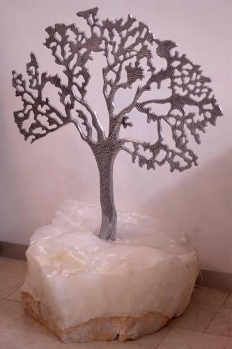 Escultura Del Árbol De La Vida Con Base De Ónix De Tecali