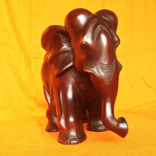 Escultura Elefante Tallada En Madera Fina