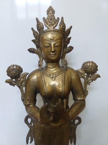 Escultura Hindu De Bronce, 72 Cm, Tara, Buda Femenino
