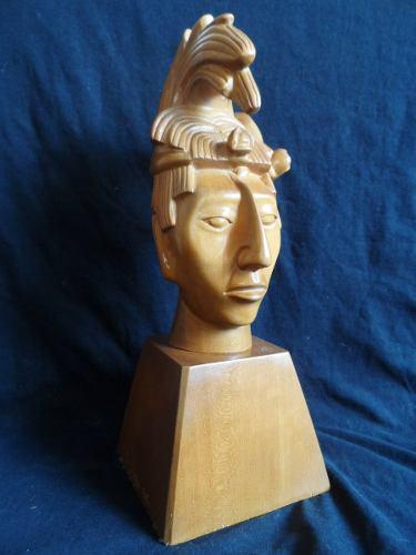 Escultura Prehispanica Rey Pakal Tallada Madera Montenegro