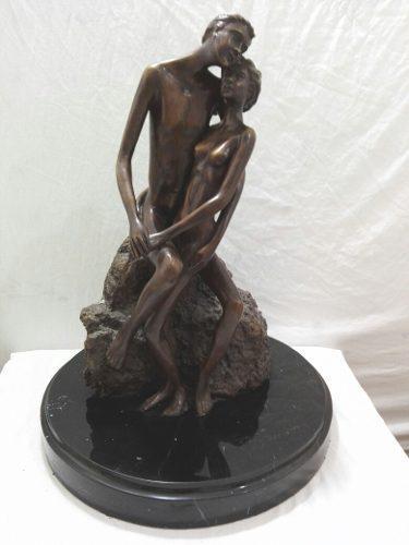 Figura De Pareja Bronce.unica Firmada Alto 56cm