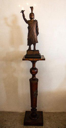 Figura Tallada En Madera Cuauhtémoc (escultura Madera)