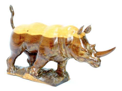 Hermosa Escultura De Rinoceronte Tallada En Madera De Ébano