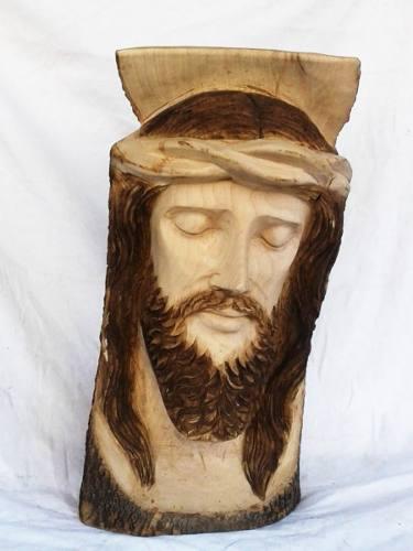 Hermosos Rostro De Cristo Tallado En Madera Fresno 65 Cmalto