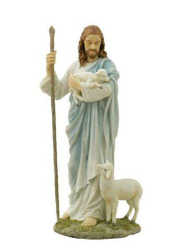 Jesus El Buen Pastor En Alabastro De 29cm
