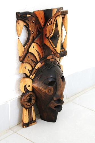 Mascara Maya De Madera De Cedro- Símbolo De La Salud