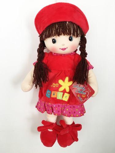 Muñeca De Trapo Y Tela Nidia Color Rojo