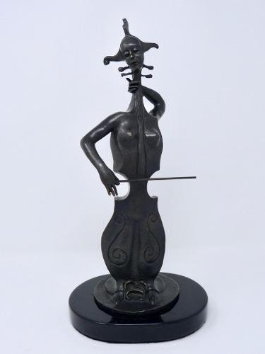 Mujer Chelo Escultura En Bronce De Alejandro Velasco Ed 1/56