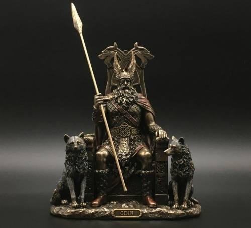 Odin Sentado En Trono Acabado En Bronce De 21cm De Alto