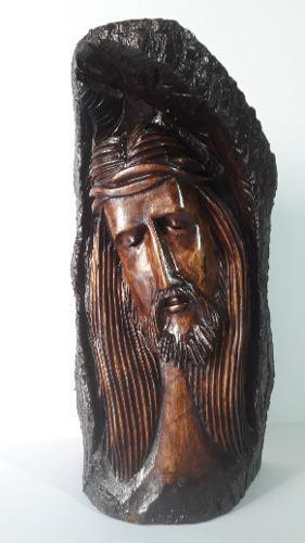 Rostro De Cristo, Tallado En Madera De Pino(35 Cm De Altura)