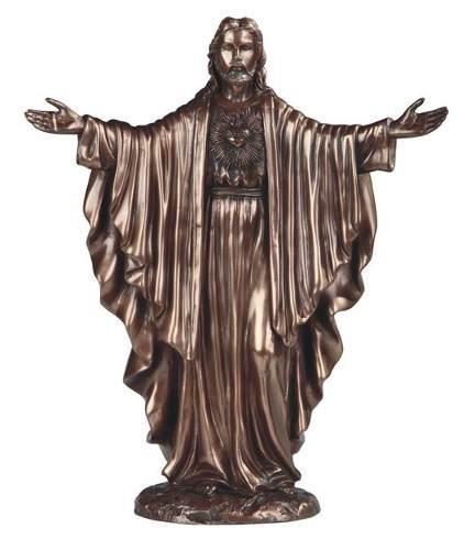Sagrado Corazon De Jesús Acabado En Bronce De 30cm De Alto