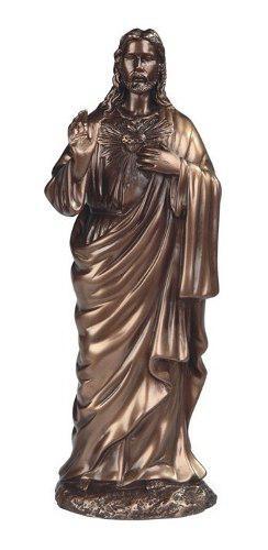 Sagrado Corazon De Jesus De 30cm Acabado En Bronce