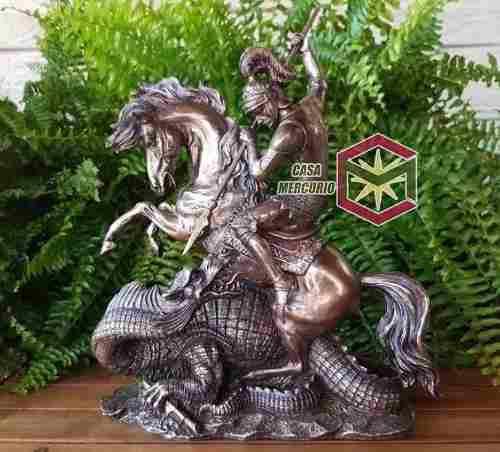 San Jorge Matando Al Dragon Acabado En Bronce De 32cms. Alto