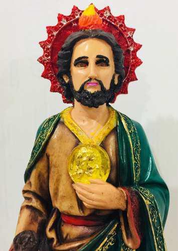 San Judas Tadeo Bulto En Resina Pintado A Mano 50cm 111y