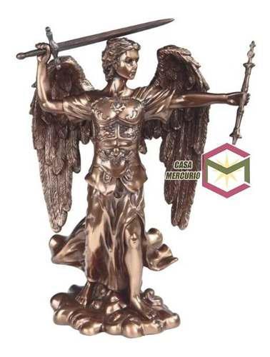 San Miguel Arcangel Acabado En Bronce De 30cm De Alto