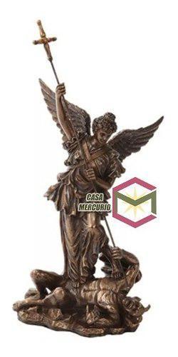 San Miguel Arcangel De 30cm Acabado En Bronce