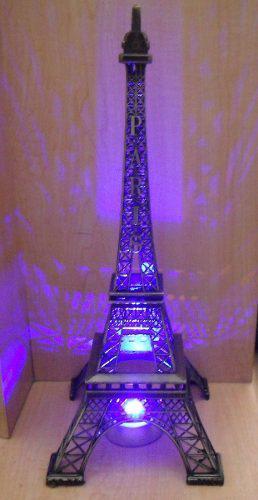 Torre Eiffel Metal !!!! 38 Cm Grabado Paris Con Base Luz
