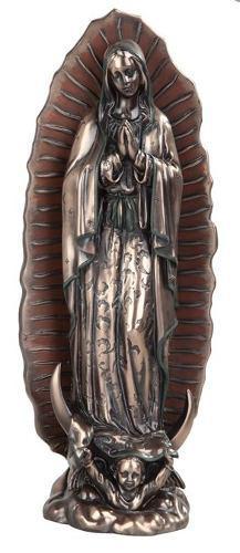 Virgen De Guadalupe De 30cm Alto Acabado En Bronce