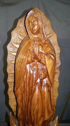 Virgen De Guadalupe Tallada En Madera De Huanacastle
