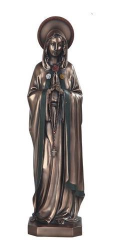 Virgen De La Rosa Mistica Acabado En Bronce De 40cm