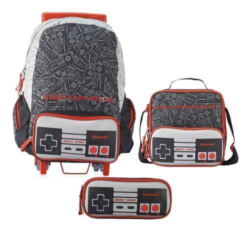 Kit Escolar Mochila Con Ruedas Control Nintendo Chenson