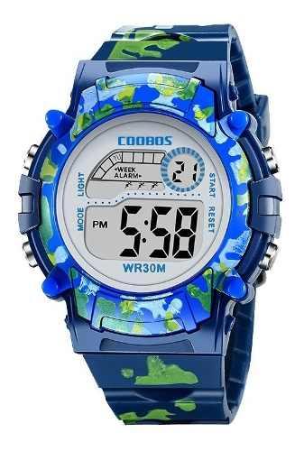 Reloj Infantil Led Niño Alarma Cronometro Militar Camuflaje