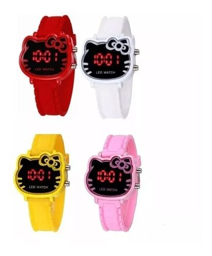 Reloj Luz Led Hello Kitty Diseño Kawai Varios Colores Full