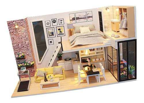Casa De Muñecas De Madera De Bricolaje Kit En Miniatura