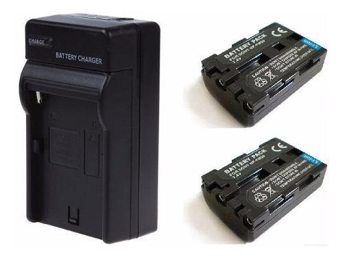 Pack Cargador + 2 Baterías Np-fm50 Para Videocamara Sony