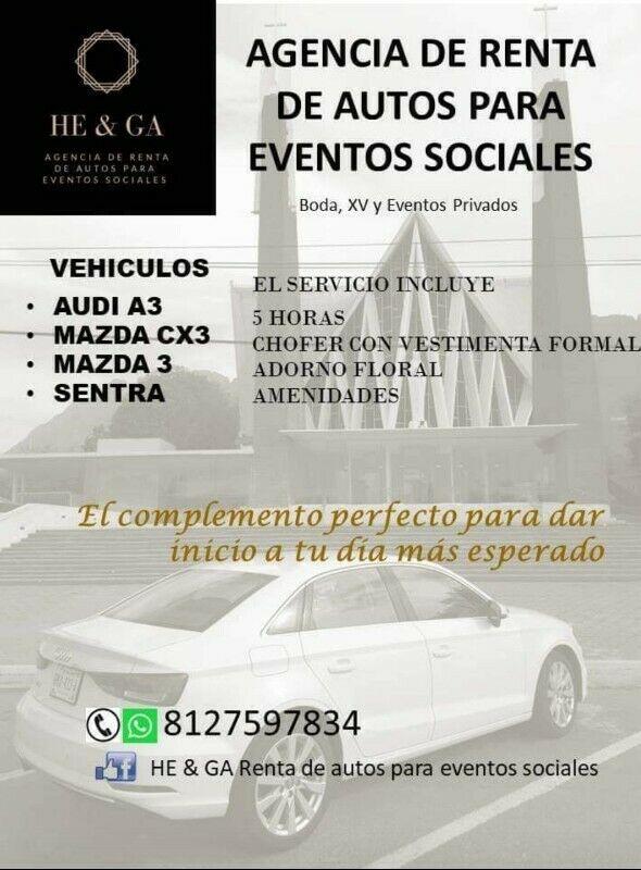 RENTA DE AUTO PARA EVENTOS SOCIALES