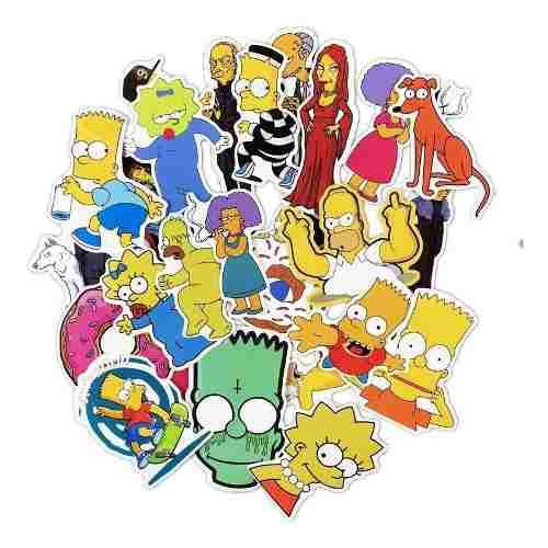 Set Calcomanias 50 Stickers Homero Marge Bart Los Simpsons
