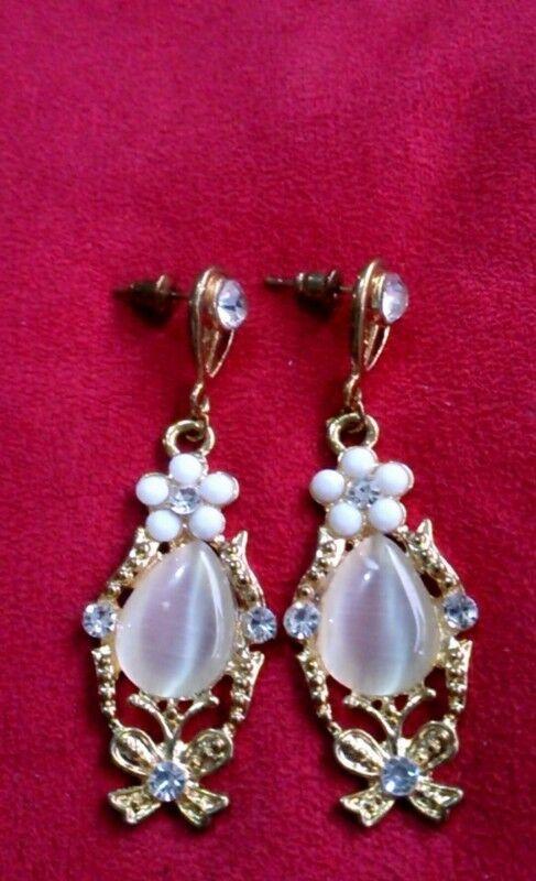 Aretes Antiguos Chapa Oro 18 Kt Cuarzo Cristales Zirconias