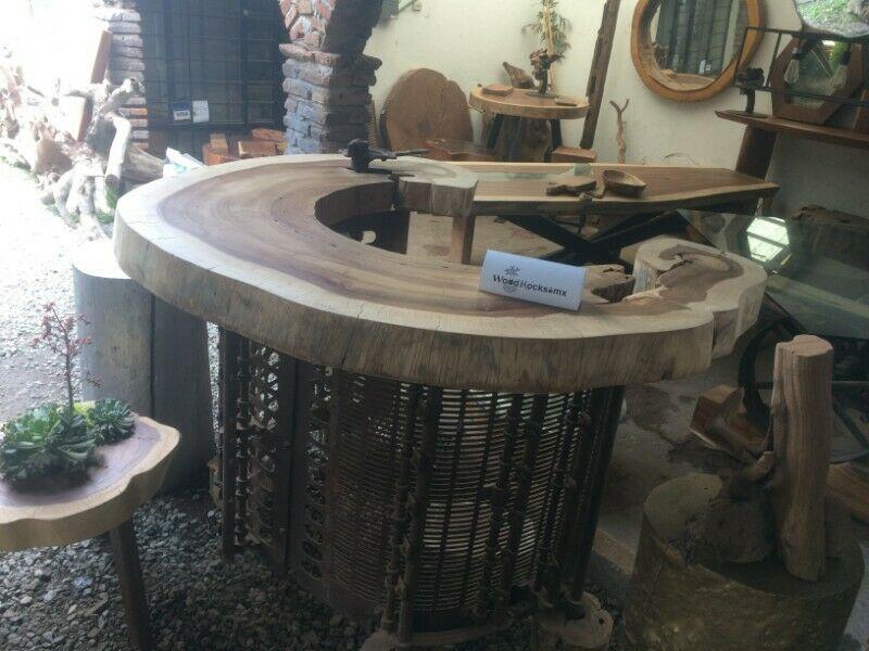 Barra de madera de Parota Vintage Industrial
