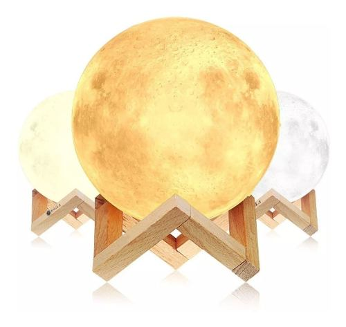 Lámpara De Luna Llena Led 15cm Diseño 3d Recargable +