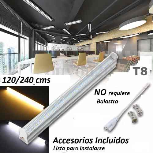 Lote 5 Tubos Doble Led 2.40 Mts T8 Canaleta Plást. 48w 240