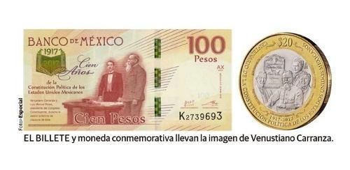 Moneda 20 Pesos Y Billete 100 Pesos Centenario Constitucion