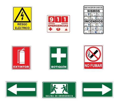 Paquete 9 Letreros Proteccion Civil Seguridad Mediano
