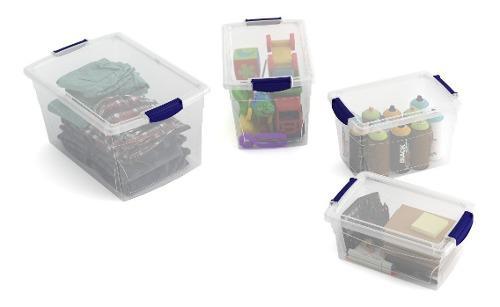 Set De 4 Cajas Organizadoras De Plástico Con Tapa -