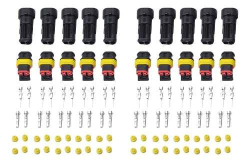 10 Sets 2 Pin Sellado A Prueba De Agua Conector De Cable