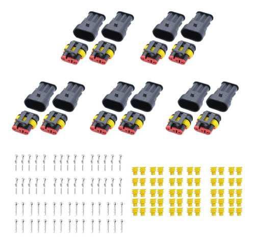 10 Sets 3 Pin Sellado A Prueba De Agua Conector De Cable